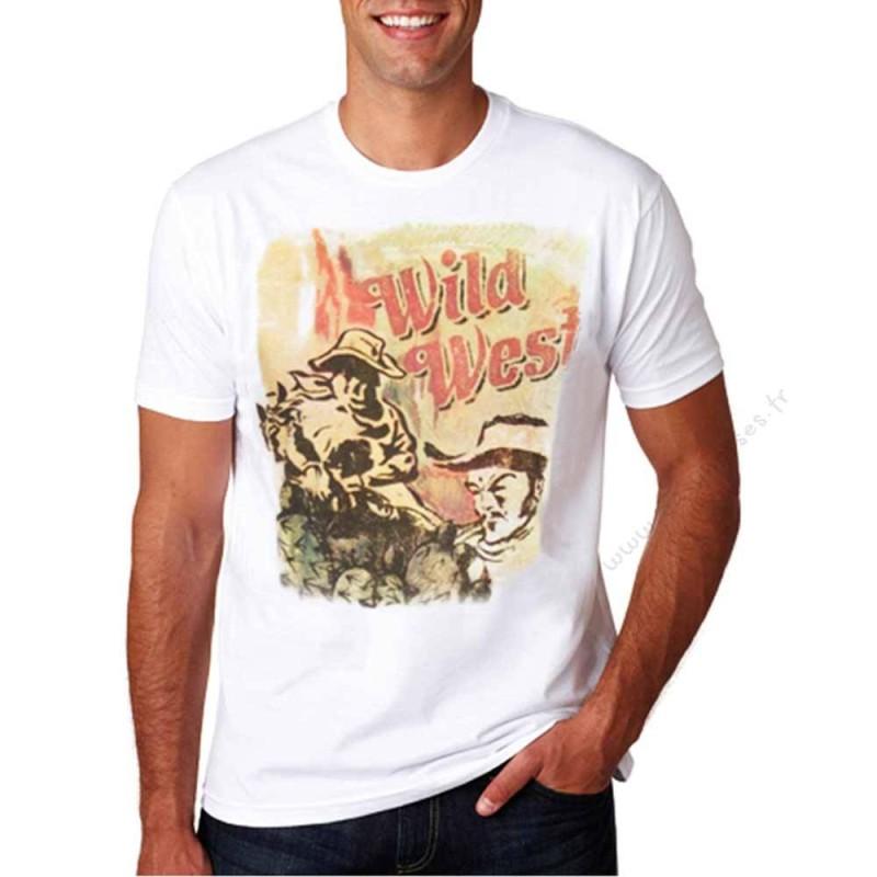 T-Shirt Wrangler Wild West Blanc