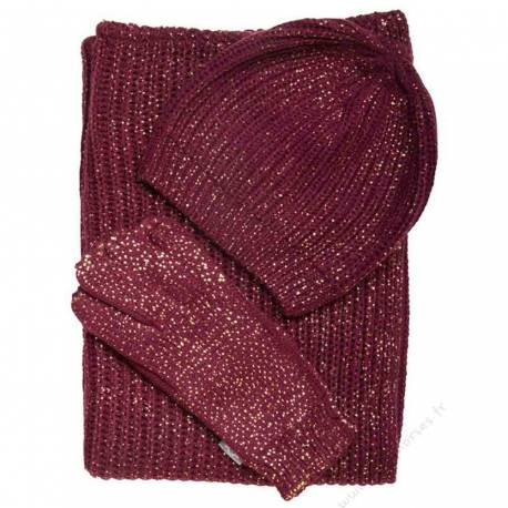 Ensemble Snood Bonnet Gants HV Polo Sparkle Roja